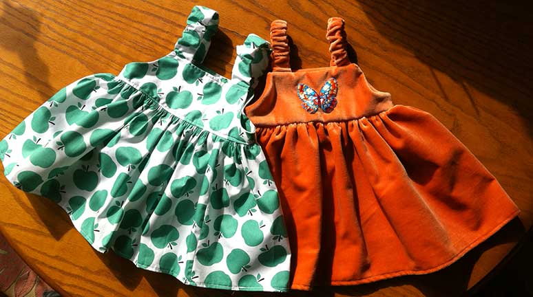 2 baby dresses from free sewing pattern