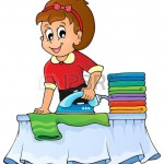 Cartoon lady ironing