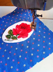 prepared applique on sewing machine ready for sewing.