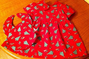 Baby christmas dress and matching bib